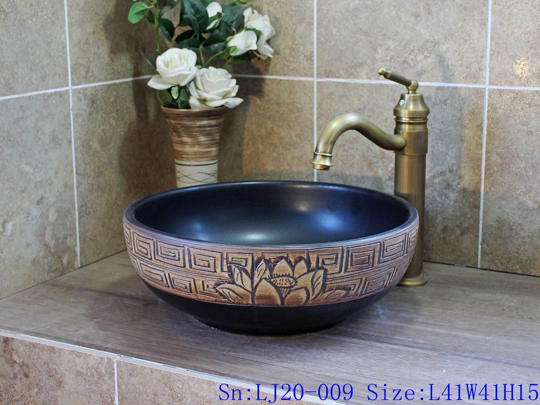 LJ20-009 China traditional dark blue brown lotus wash basin sink