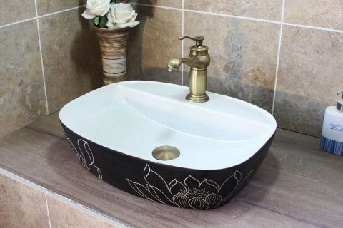 LJ20-010 Simplicity pure hand made glazed lotus oval table basin