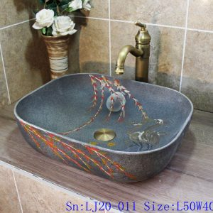 LJ20-011 Frosted high-grade grey hand painted red crowned crane platform basin