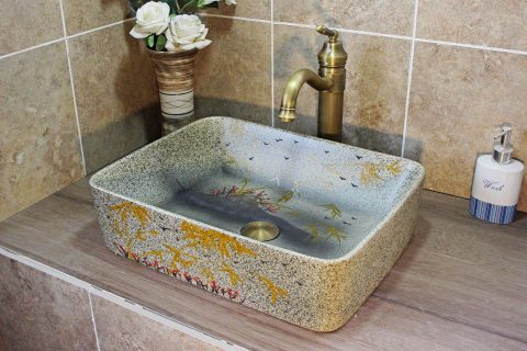 LJ20-012 Grey imitation marble hand-painted bamboo red flower ceramic basin