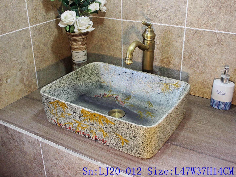 LJ20-012 Grey imitation marble hand-painted bamboo red flower ceramic basin