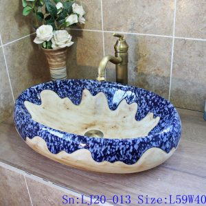LJ20-013 old looking blue sea glazed hand make porcelain basin