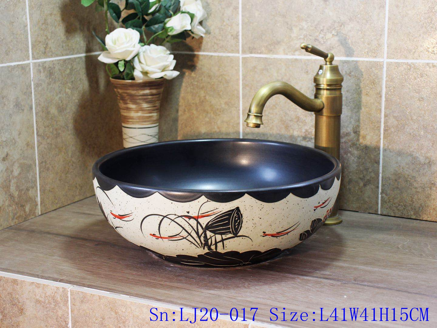 LJ20-017 Hand-painted lotus deep blue table basin