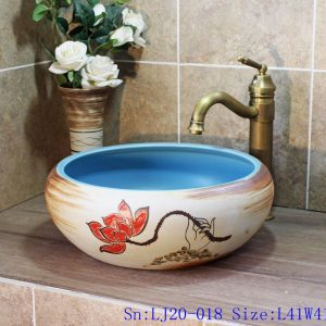 LJ20-018 Hand-painted lotus skyblue round table basin