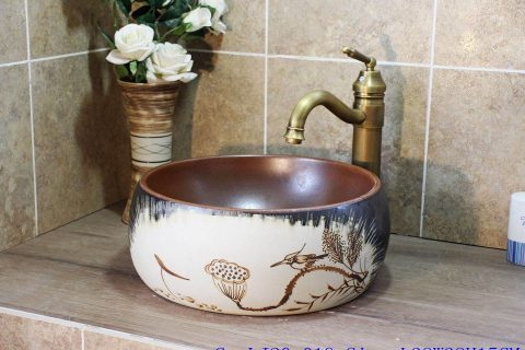 LJ20-019 Hand-painted lotus birds Brown round wash sink