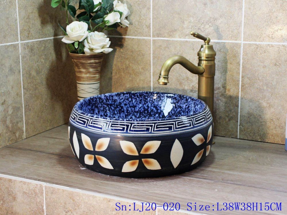 china handmade Colour glazed ceramic washbasin