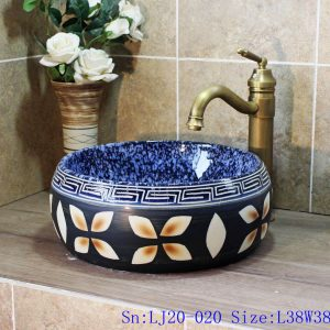 LJ20-020 Hand-painted carved luckly leaves pocerlain basin