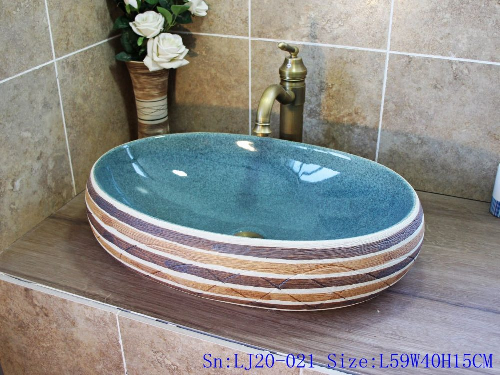 jingdezhen Oval high temperature colour glazed washsink