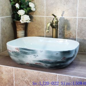 LJ20-022 Unique hand - painted ink ocean basin