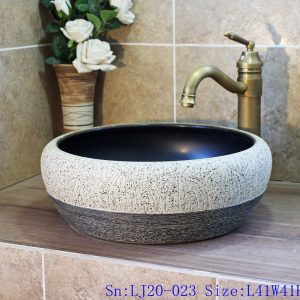LJ20-023 High - grade grey carved round table basin