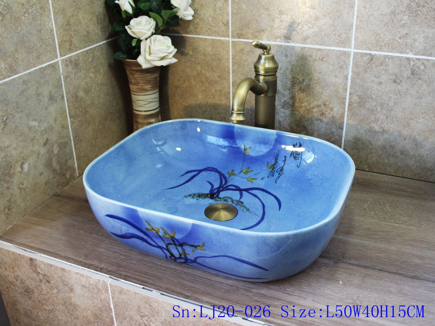 LJ20-026 Pure hand painting blue flowers wash sink