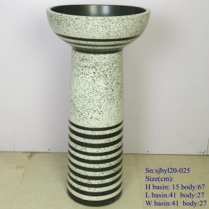 sjbyl120-025 Restaurant light green color green stripes porcelain pedestal sink