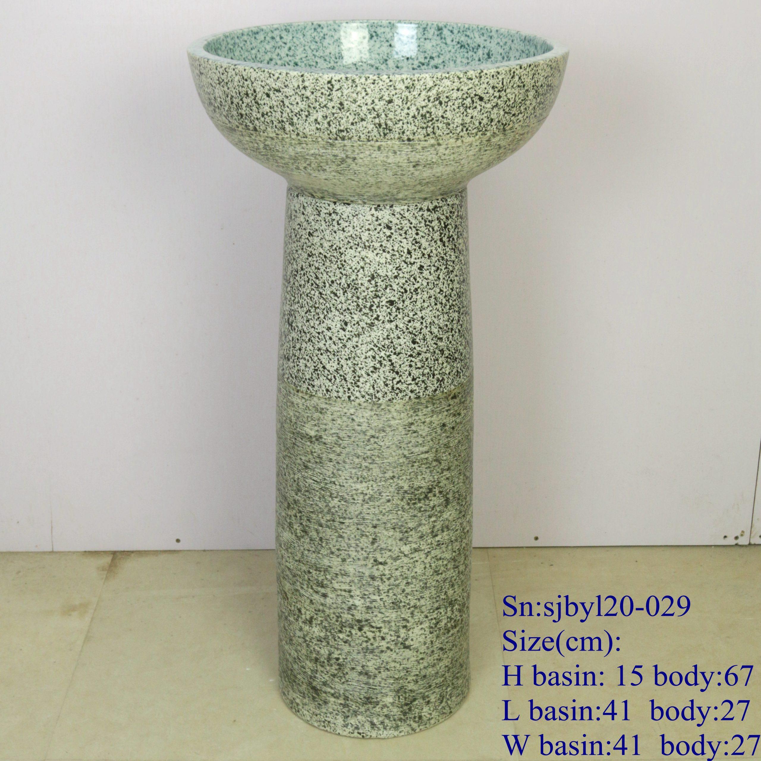 sjbyl120-029 Restaurant Nesting basin - dreamlike fine line porcelain pedestal sink