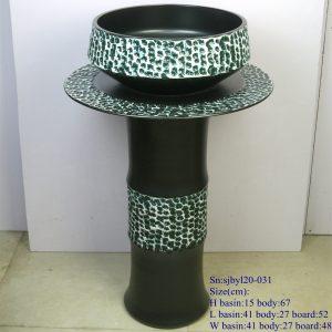 sjbyl120-031 Restaurant Nesting basin - Green bluestone porcelain pedestal sink