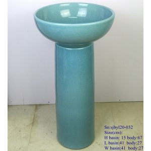 sjbyl120-032 Restaurant Nesting basin - turquoise blue crackle glaze porcelain pedestal sink