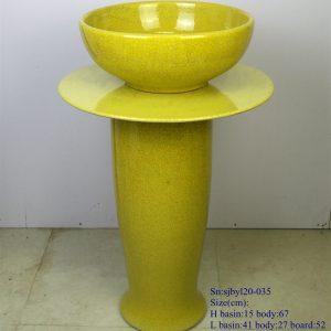 sjbyl120-035 Restaurant Nesting basin -Huang Wen piece porcelain pedestal sink