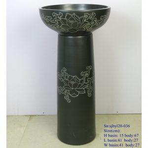 sjbyl120-036 Restaurant Nesting basin -Black lotus vine porcelain pedestal sink