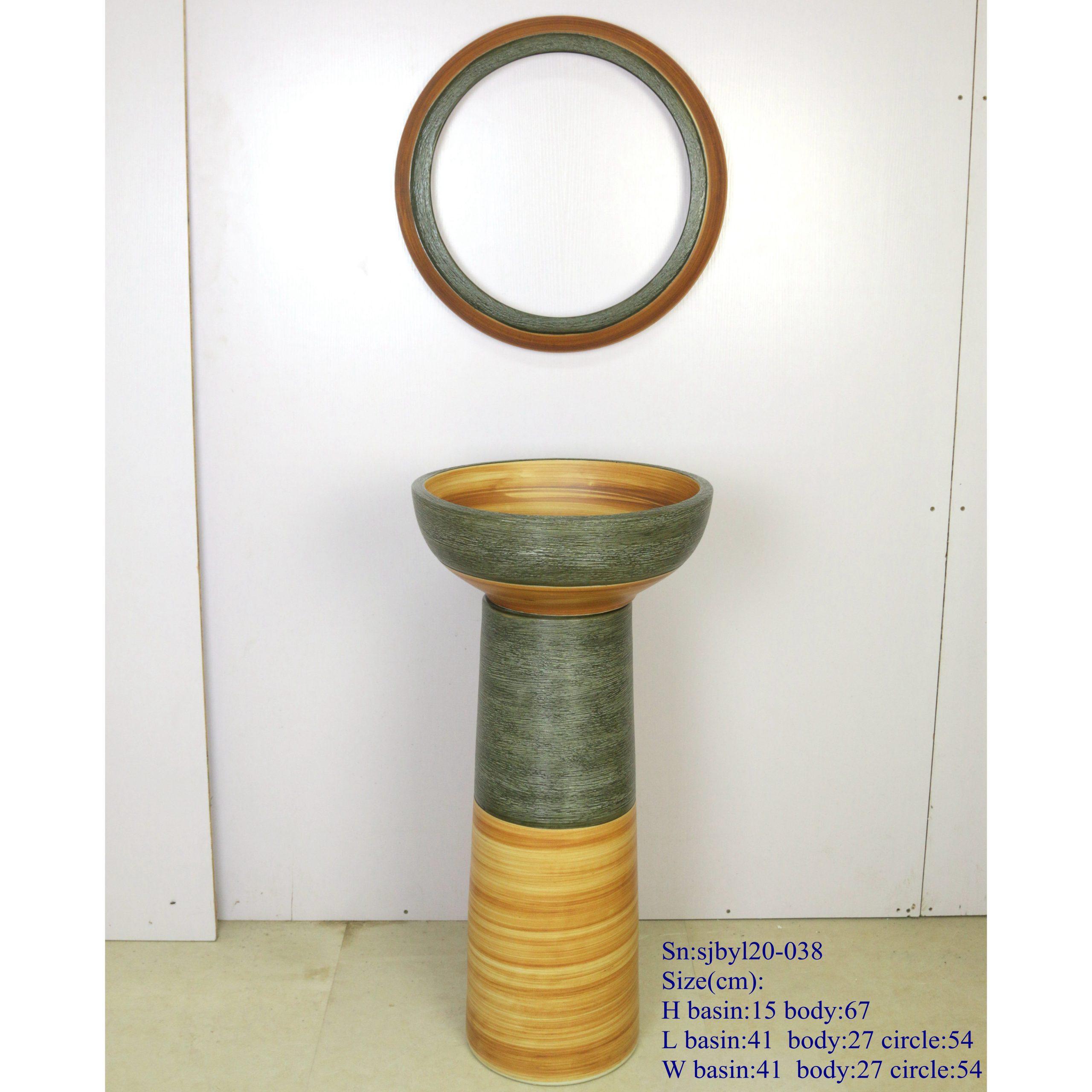 sjbyl120-038 Restaurant Nesting basin Paleosensitic lithographic fine line porcelain pedestal sink