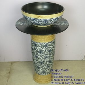 sjbyl120-039 Restaurant Nesting basin Antique wood grain blue and white inside black porcelain pedestal sink