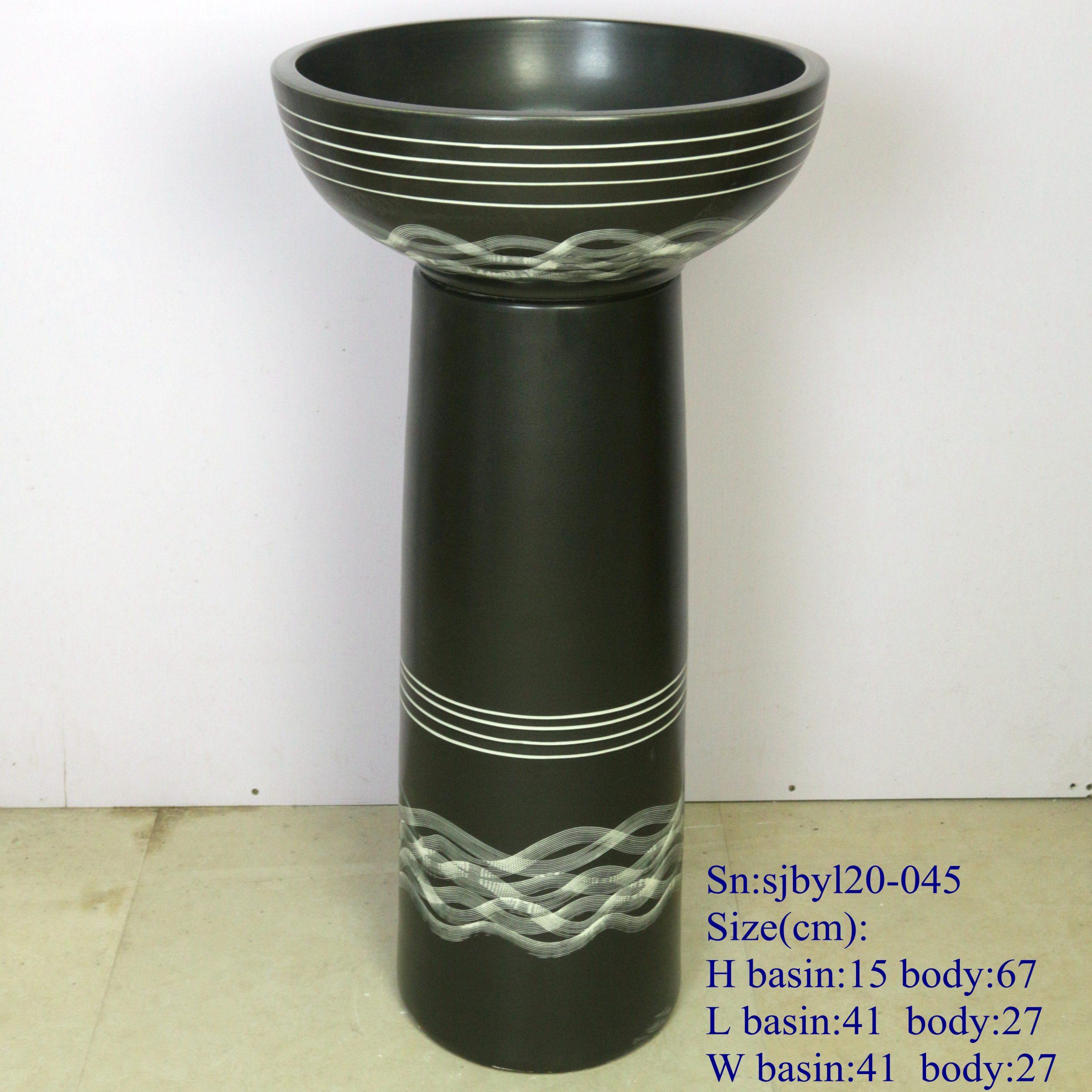 sjbyl120-045 Restaurant Nesting basin Corrugated yarn porcelain pedestal sink