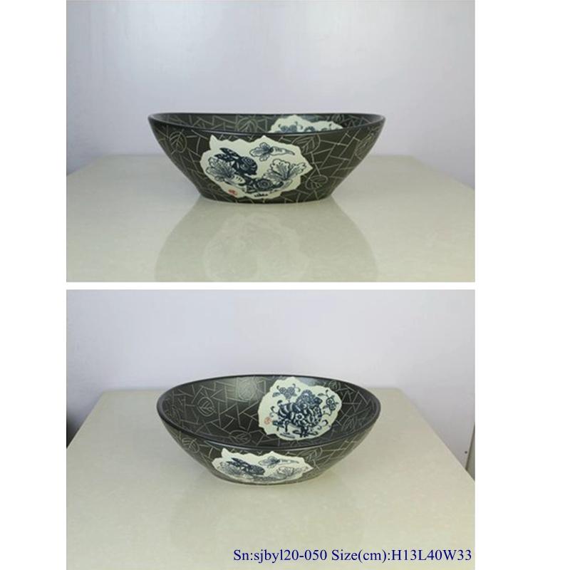 sjbyl120-050Restaurant Nesting basin black zodiac porcelain sink