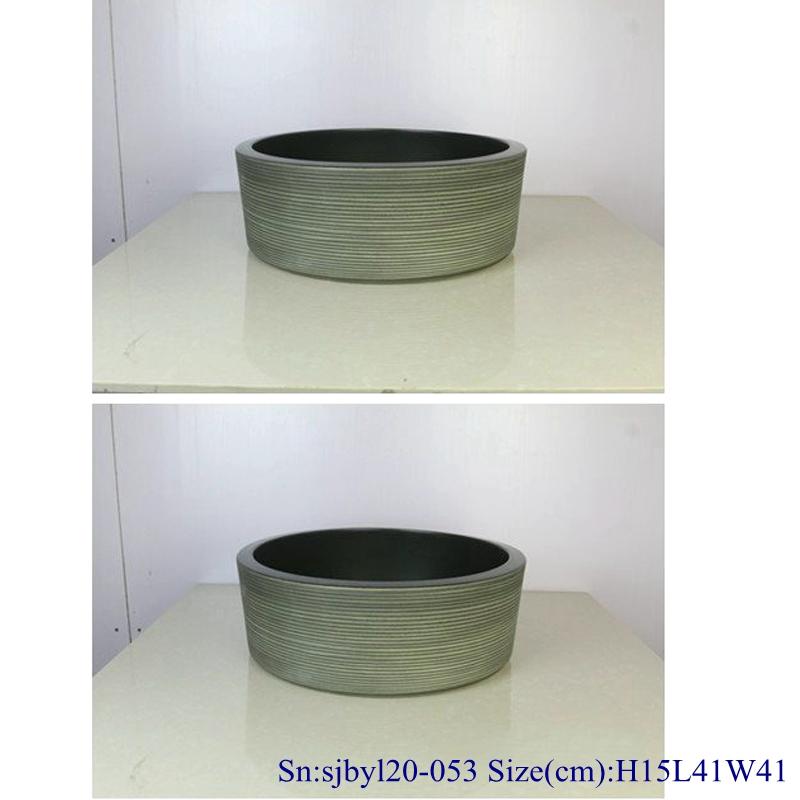 sjbyl120-053Pure hand made Matte black coil cearmic sink