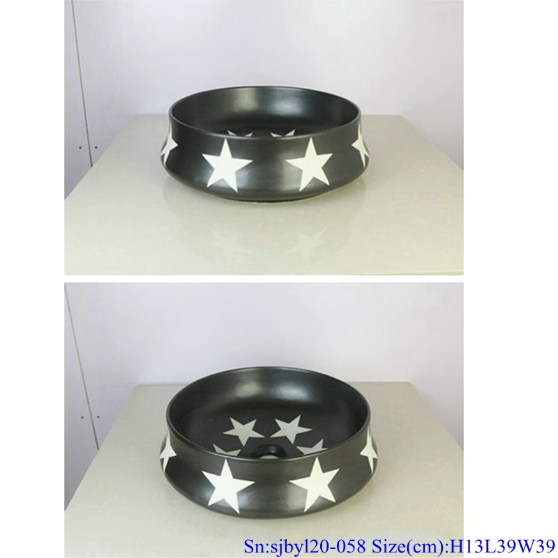 sjbyl120-058 Simply fashionable black glazed star procelain wash basin