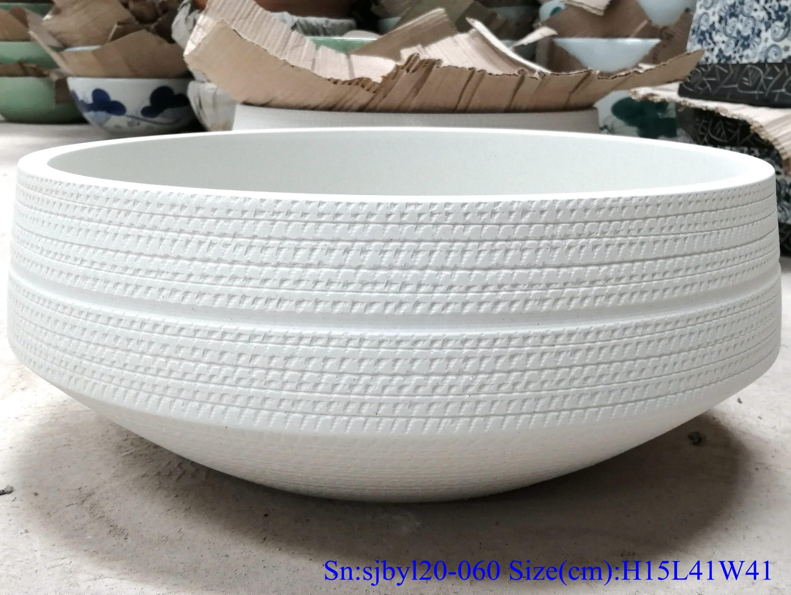 sjbyl120-060 Simply fashionable white glazed Matte procelain wash basin