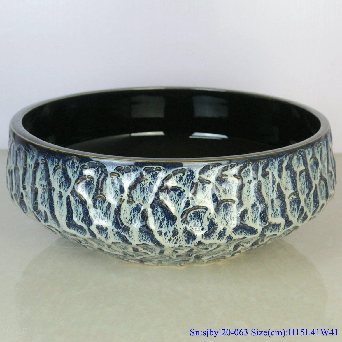 sjbyl120-063 Simply fashionableBlack gold glazed stone Porcelain wash basin
