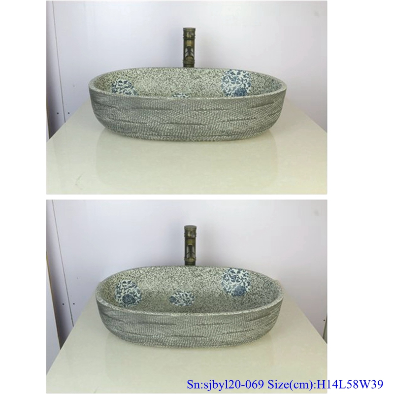 sjbyl120-069 Durable hand painting Reticulated shoot lotus Porcelain wash basin