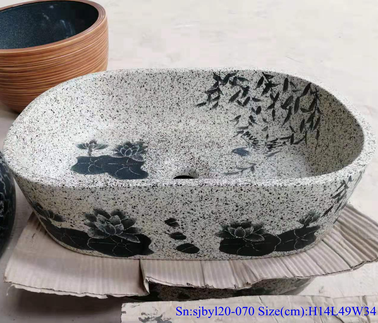 sjbyl120-070 China style antique Oval lotus leaf new Porcelain wash basin