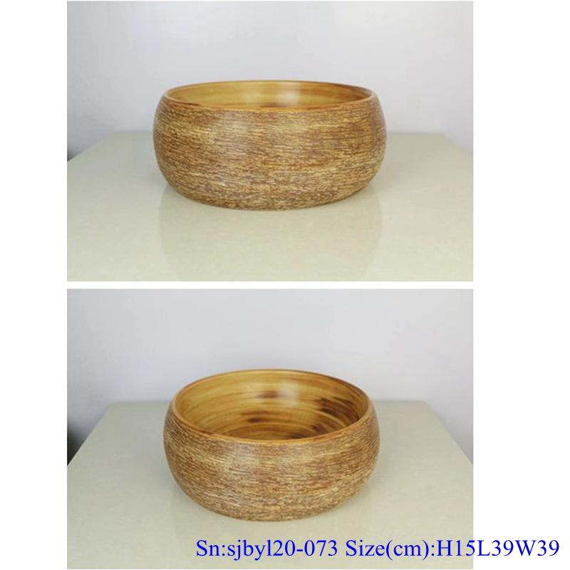 sjbyl120-073 China styleIron oxide red stone round new Porcelain wash basin