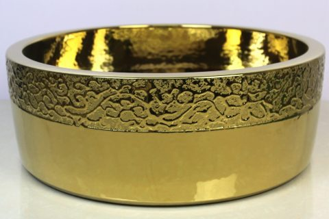sjbyl120-076 China style - Table basin - Metallic glaze and electroplating series - Straight mouth golden chrysanthemum - Cast gold