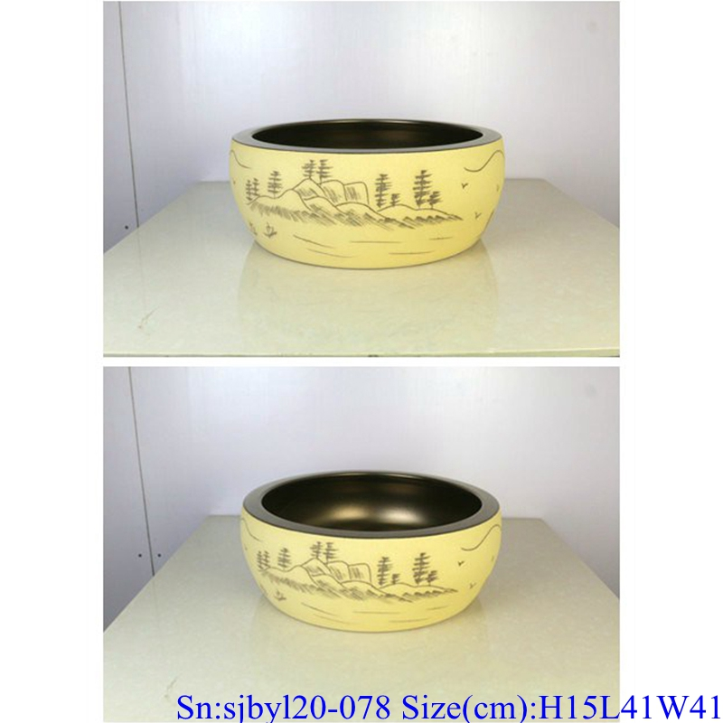 sjbyl120-078 Table basin - metallic glaze and electroplating series - Sub-golden autumn water