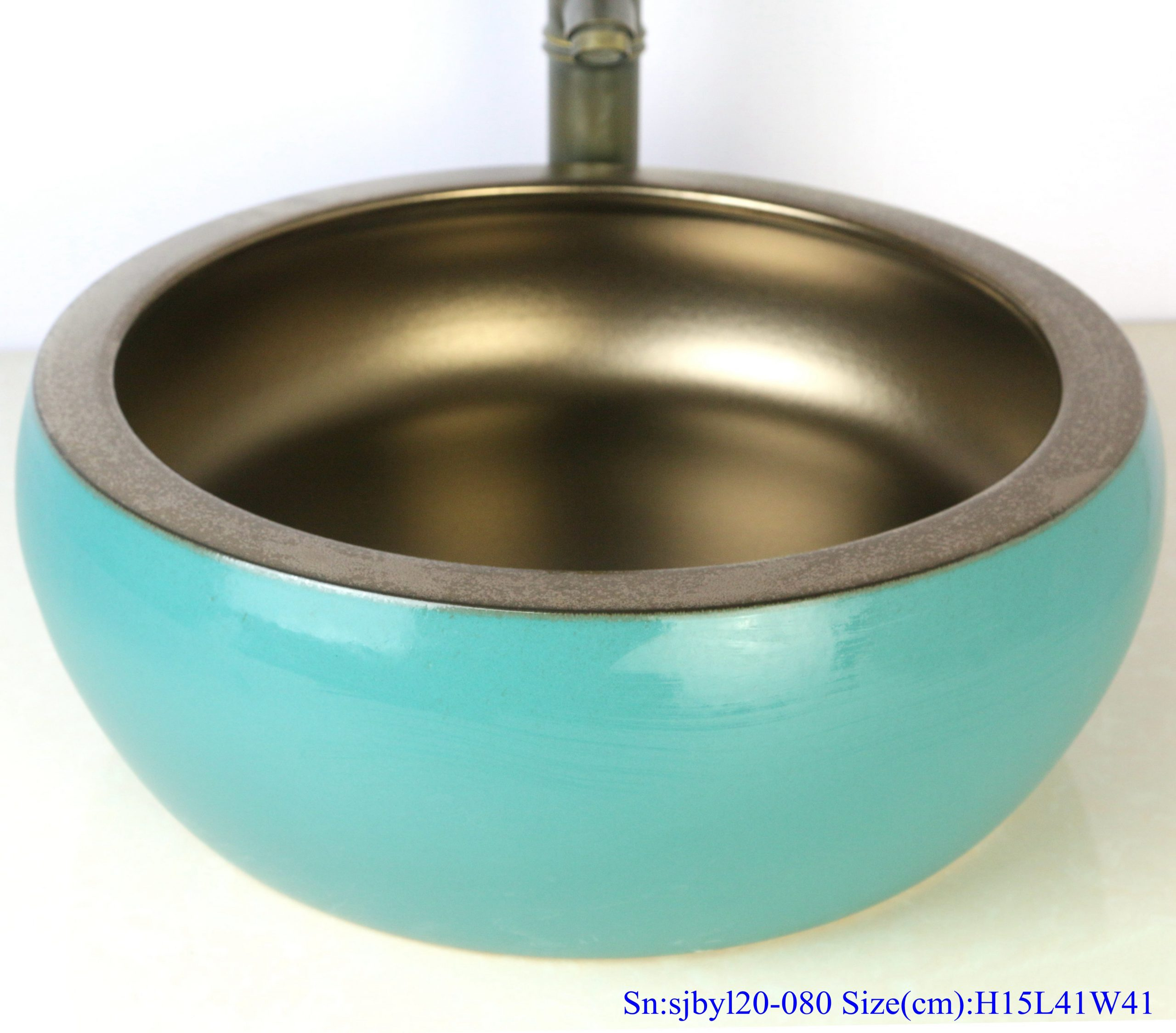sjbyl120-080 Table basin - metallic glaze and electroplating series - gold green waist drum