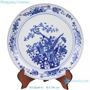 RYQQ44-G Hand maid blue and white flowers decorate ceramic plate