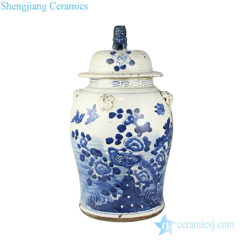 Blue and white general pot flower pattern ceramics