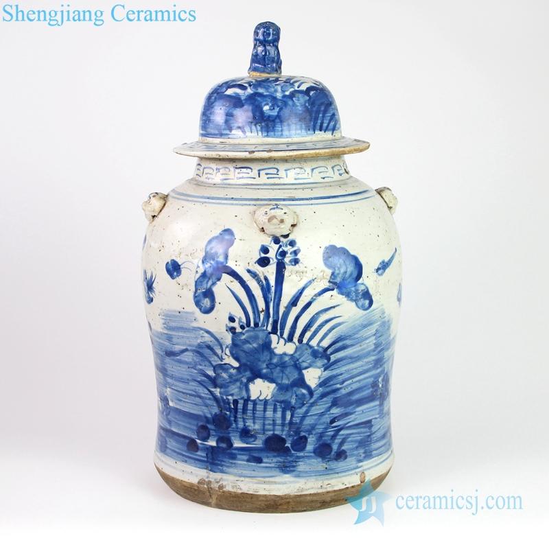 Blue and white general pot lotus pattern ceramics