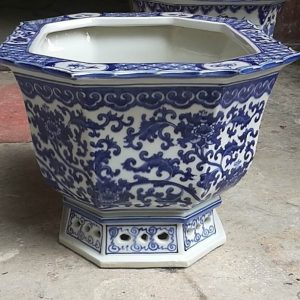 Shengjiang handmade blue and white ceramic flower pot