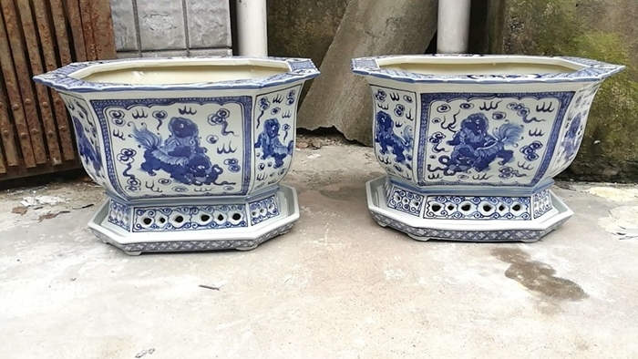 Shengjiang handmade blue and white porcelain more design flower pot