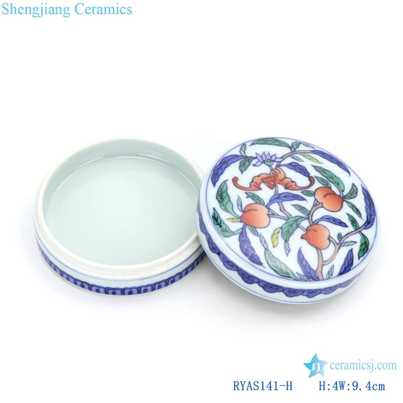 RYAS141-H Hand maid fresh peach ceramic round small Rouge box