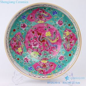 RYZG30-1 Hand maid Pastel phoenix decorate ceramic plate