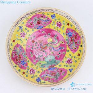 RYZG30-B- Hand maid hand panited pastel phoenix ceramic plate