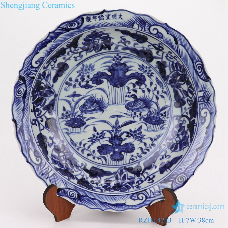 RZHL43-B Blue and white inmitation ming dynasty cearmic plate
