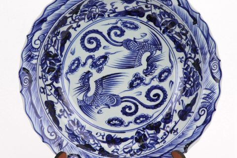 RZHL42- D Blue and white phenonix inmitation ming dynasty cearmic plate