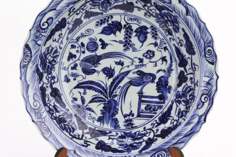 RZHL42- E Blue and white birds with trees inmitation ming dynasty cearmic plate