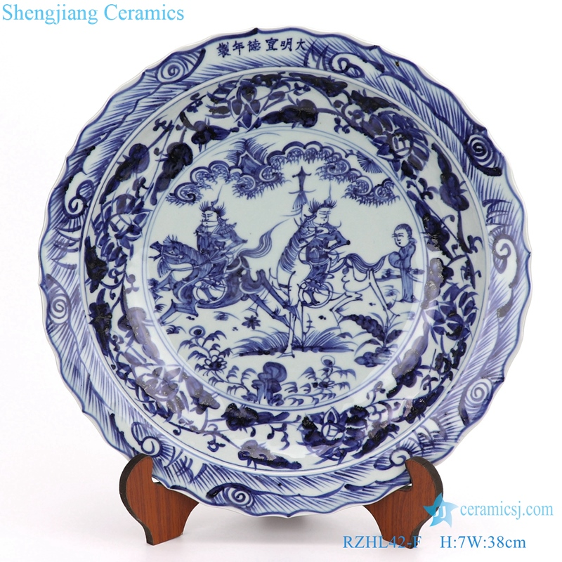 RZHL42- F Blue and white inmitation ming dynasty cearmic plate