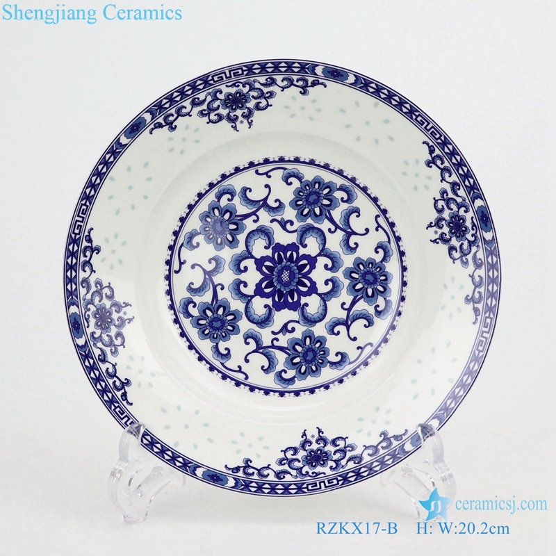 RZKX17-B hand made Blue and white cearmic plate