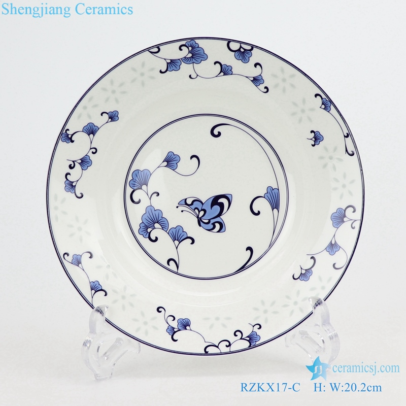 RZKX17-C hand made Blue and white cearmic plate