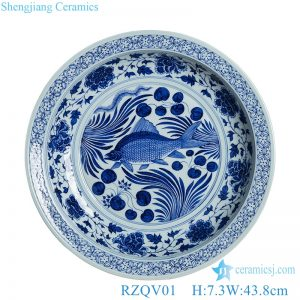RZQV01 hand made Blue and white fish ceramic decorate plate